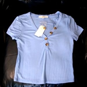 Hippie Rose Blue Button Down Stretch Top WD-1
